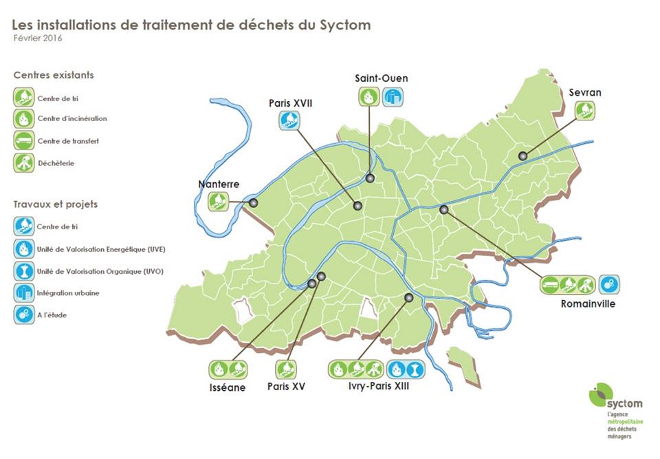 Les installations de traitement de déchets du Syctom